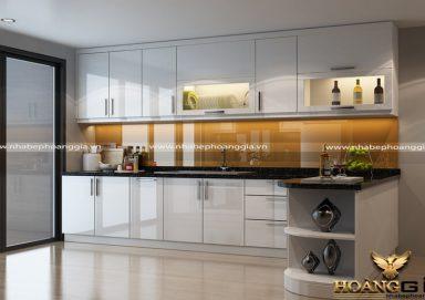 Mẫu tủ bếp gỗ Acrylic hình chữ L tiện lợi