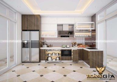 Mẫu tủ bếp gỗ Acrylic giả vân gỗ hiện đại đầy sang trọng