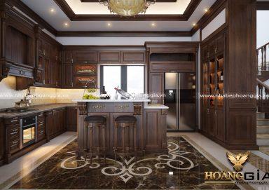 Mẫu thiết kế tủ bếp nhà biệt thự phong cách tân cổ điển TBTCD27