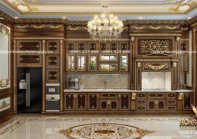 Đẳng cấp với mẫu thiết kế tủ bếp cổ điển dát vàng