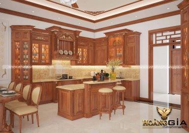 Mẫu thiết kế tủ bếp chất liệu gỗ gõ sang trọng cho nhà biệt thự