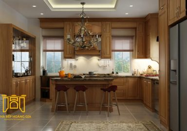 Mẫu tủ bếp tân cổ điển gỗ cẩm 01 sang trọng