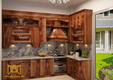 Mẫu tủ bếp đẹp gỗ cẩm 02