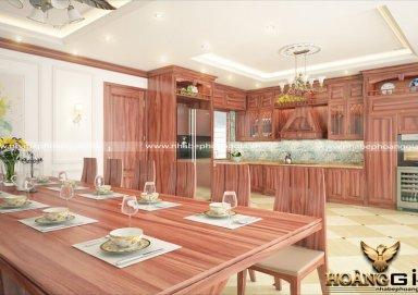 Mẫu tủ bếp tân cổ đẹp gỗ cẩm 07