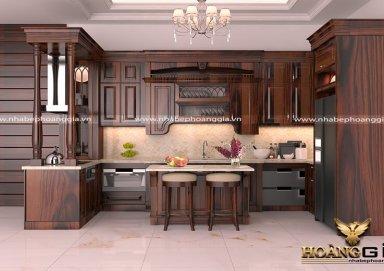 Mẫu tủ bếp đẹp gỗ cẩm 08