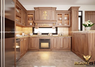 Mẫu tủ bếp gỗ cẩm 09