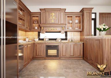 Mẫu tủ bếp tân cổ điển gỗ cẩm 09 đầy thu hút