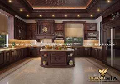 Mẫu tủ bếp gỗ cẩm 10