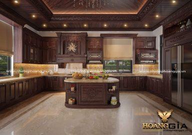 Mẫu tủ bếp tân cổ điển gỗ cẩm cho nhà biệt thự