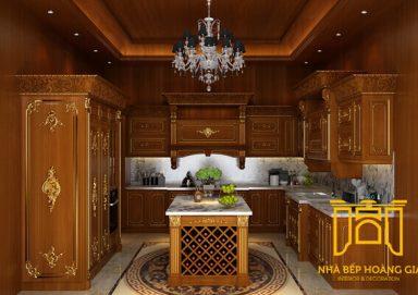 Mẫu tủ bếp dát vàng gỗ gõ 02