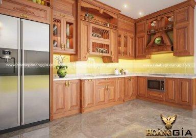 Mẫu tủ bếp gỗ gõ 08
