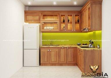 Mẫu tủ bếp hiện đại gỗ gõ 09