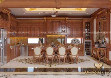 Mẫu thiết kế tủ bếp gỗ gõ đỏ sang trọng nhà anh Bảo (Hà Tĩnh)
