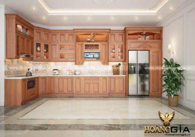 Mẫu tủ bếp tân cổ nhẹ nhàng chất liệu gỗ gõ 10