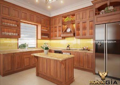 Mẫu tủ bếp nhà phố với chất liệu gỗ gõ 11