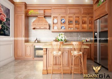 Mẫu tủ bếp gỗ gõ 12