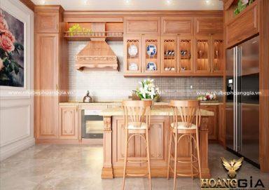 Mẫu tủ bếp đẹp gỗ gõ 12
