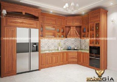Mẫu tủ bếp đẹp với chất liệu gỗ gõ 13