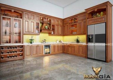 Mẫu tủ bếp đẹp gỗ gõ 14