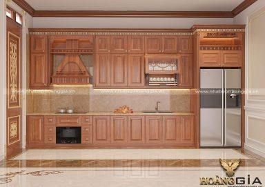Sang trọng với mẫu tủ bếp gỗ gõ nhà chị Minh (Mạo Khê, Quảng Ninh)