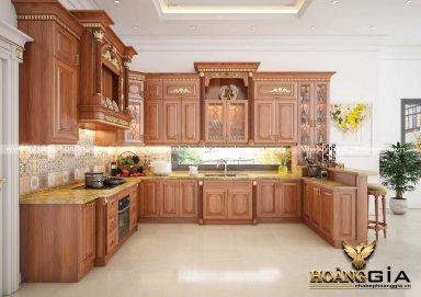 Mẫu tủ bếp tân cổ gỗ gõ cao cấp kết hợp với quầy bar