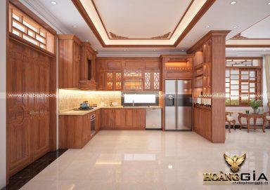 Mẫu thiết kế tủ bếp gỗ gõ phong cách tân cổ điển