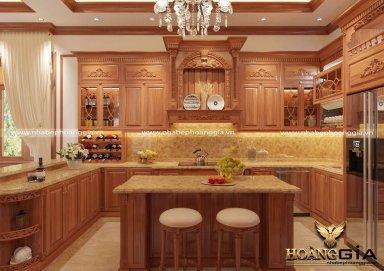 Mẫu tủ bếp và phòng ăn gỗ gõ đỏ nhà anh Lượng