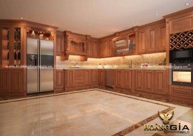 Mẫu tủ bếp tân cổ điển chất liệu gỗ gõ sang trọng cho nhà biệt thự