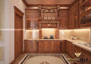Mẫu thiết kế tủ bếp đẹp gỗ gõ đỏ theo phong cách tân cổ điển