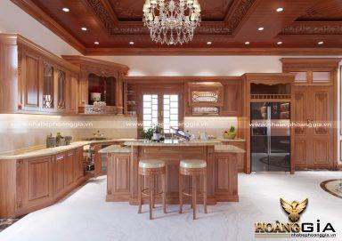 Mẫu tủ bếp có bàn đảo gỗ gõ tự nhiên 18