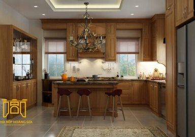 Mẫu tủ bếp gỗ gõ 01