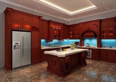 Mẫu tủ bếp gỗ hương 04