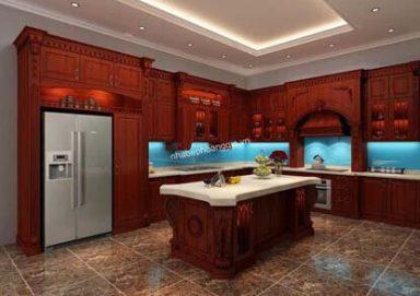 Mẫu tủ bếp đẹp với chất liệu gỗ hương sang trọng