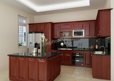 Mẫu tủ bếp hiện đại gỗ hương 01