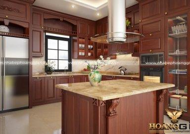 Mẫu tủ bếp tân cổ gỗ hương 06 cao cấp