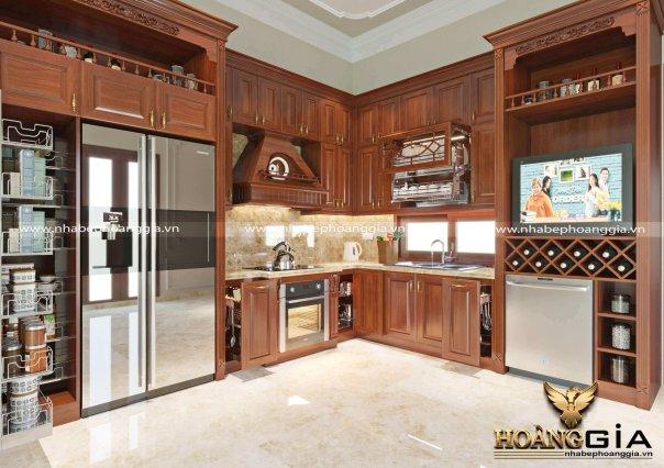 Dự án thiết kế tủ bếp gỗ hương nhà anh Hùng (Đông Anh)