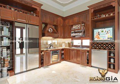 Mẫu thiết kế tủ bếp đẹp với chất liệu gỗ hương cao cấp