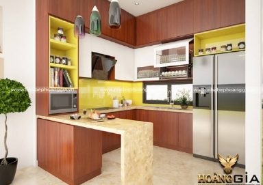 Phòng bếp cao cấp chất liệu gỗ giáng hương tự nhiên