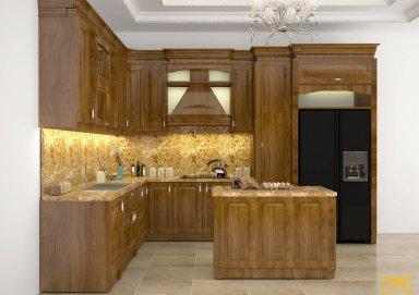 Mẫu tủ bếp gỗ lát 01