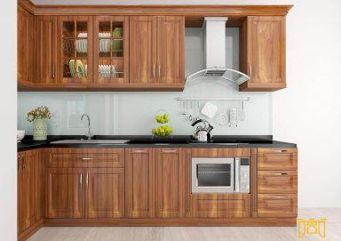 Mẫu tủ bếp gỗ lát 02