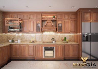 Mẫu tủ bếp gỗ tân cổ nhẹ nhàng cho gian bếp hẹp