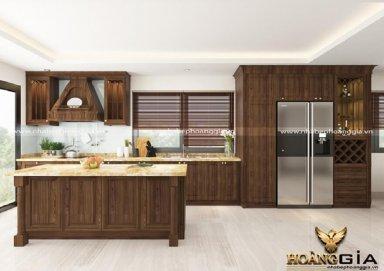 Mẫu tủ bếp gỗ sồi Mỹ 01