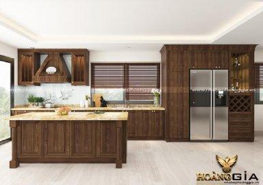 Mẫu tủ bếp tân cổ gỗ sồi Mỹ 01