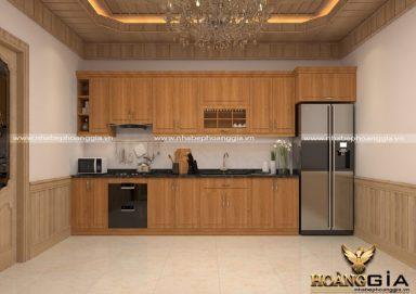 Mẫu tủ bếp đẹp gỗ sồi Mỹ 02