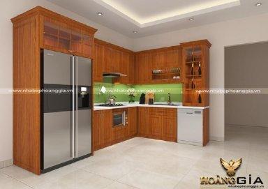 Mẫu tủ bếp đẹp với chất liệu gỗ sồi Mỹ 03