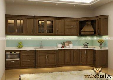 Mẫu tủ bếp đẹp chất liệu gỗ sồi Mỹ 04
