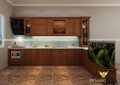 Mẫu tủ bếp hiện đại gỗ sồi Mỹ 06
