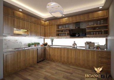Mẫu tủ bếp gỗ sồi Mỹ 07