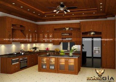 Mẫu tủ bếp tân cổ điển gỗ sồi Mỹ cao cấp