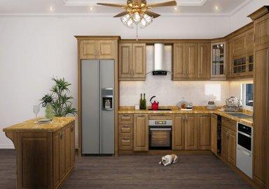 Mẫu tủ bếp đẹp gỗ sồi Mỹ 09